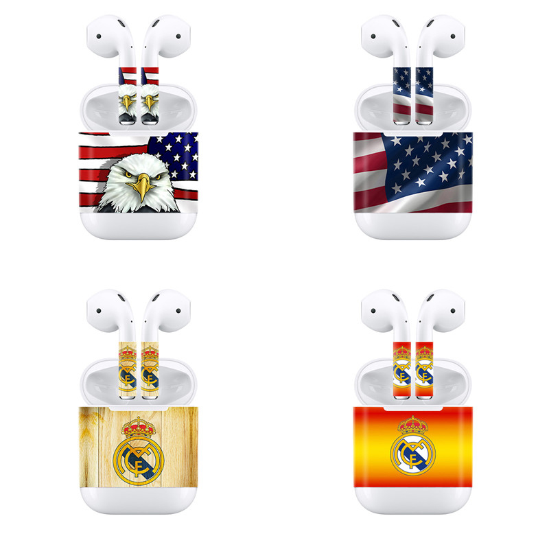 New Fashion Designs For AirPods Skin Sticker Headphones for Airpod Case Charging Black Earphone decals