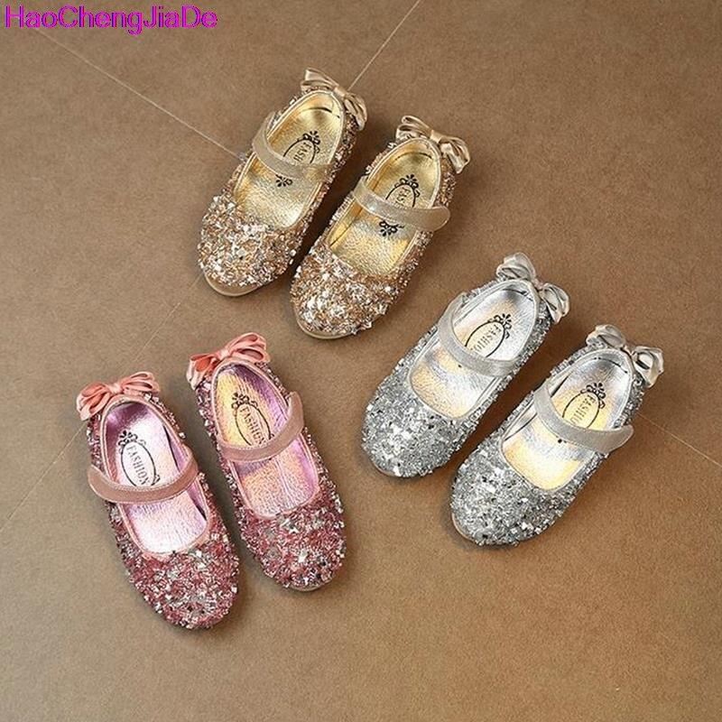 HaoChengJiaDe Fashion Girls Leather Shoes Sequins Glitter Shoes For Girls Spring Autum Children Princess Shoe Pink Silver Golden