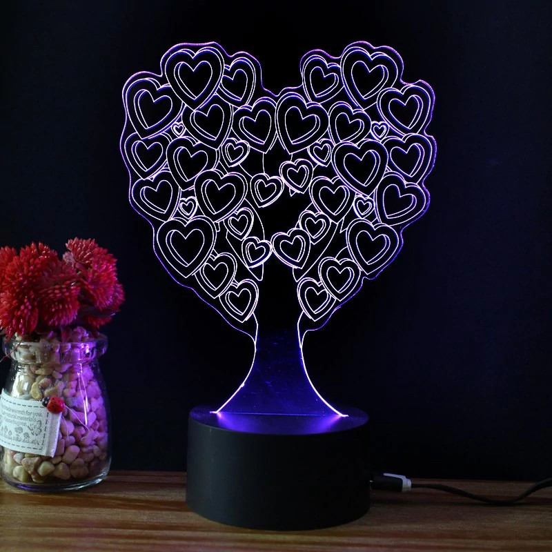 Creative 3D LED Visual Love Heart Shaped Tree NightLight USB Table Lamp Luminaria Bedroom Decor Bedside Sleep Light Fixture Gift
