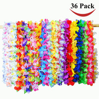 36 Counts Tropical Hawaiian Luau Flower Lei Party Favors Decoration 14 x 3 x 11 inches Hawaii Garland Necklace Colorful Flower