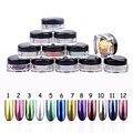 1 unids 12 Colores Brillos Espejo Con El Cepillo de Uñas Herramientas de la Manicura De Uñas 3D Decoración Del Arte Del Clavo