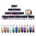 1pcs 12 Colors  Glitters Nails Mirror With Brush Manicure Tools For Nail Polish 3D Nail Art Decoration