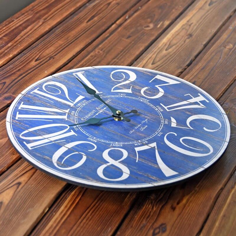 CLEMENT Blau Digitale Große Wanduhr Europe Rund Uhren Wohnzimmer ...