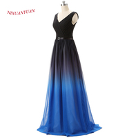 2017 New Arrived Hot Sale V Neck Floor Length Gown Elegant Chiffon A Line Prom Dress