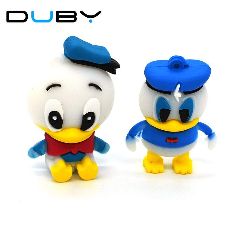100% Real Capacity Lovely Donald Duck Usb Flash Drive Cartoon Pendrive USB Pen Drive Disk Flash Memory Stick Free Shipping