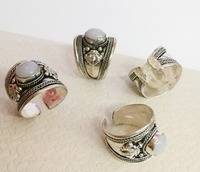10pcs / lot Excellent Old Tibet Silver Carved rings white Moonstone Stone Ring Adjustable Gift , 10 rings
