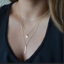Fashion Multi Layer Choker Necklace Bead  Necklace Geometric Coin Necklace Pendant On Neck Jewelry Collier Femme stylish coin fringe metal choker necklace