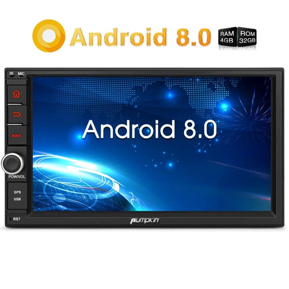 Citrouille Octa base Android 8.0 autoradio 2 Din 7 ''Universel De Voiture Stéréo GPS 4 GB RAM 32 GB ROM wifi 4G Radio lecteur audio AUCUN DVD