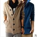 Free shopping новый 2016 осень на открытом воздухе поло воротник slim fit мужская sweaterss большая кнопка дизайн кашемир теплый повседневная кардиган/KS5