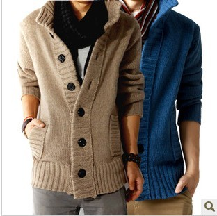 Free shopping new 2016 autumn outdoors polo collar slim fit mens sweaterss big button design cashmere warm casual cardigan /KS5