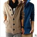Free shopping new 2017 autumn outdoors polo collar slim fit mens sweaterss big button design cashmere warm casual cardigan /KS5