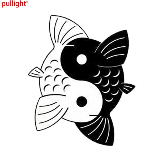 124152 Cm Yin Yang Koi Fish Creativo Dibujos Animados Etiquetas