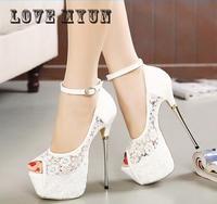 Women Summer Sandals Lace Pumps Women Party Sexy Shoes Platform Pumps White Wedding Shoes Stiletto Heels