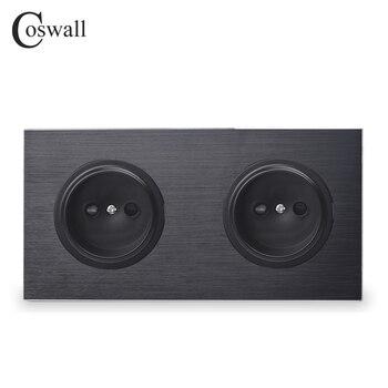 Черная алюминиевая металлическая панель Coswall, универсальная настенная розетка европейского стандарта 16 А, двойная розетка с защитным замко...