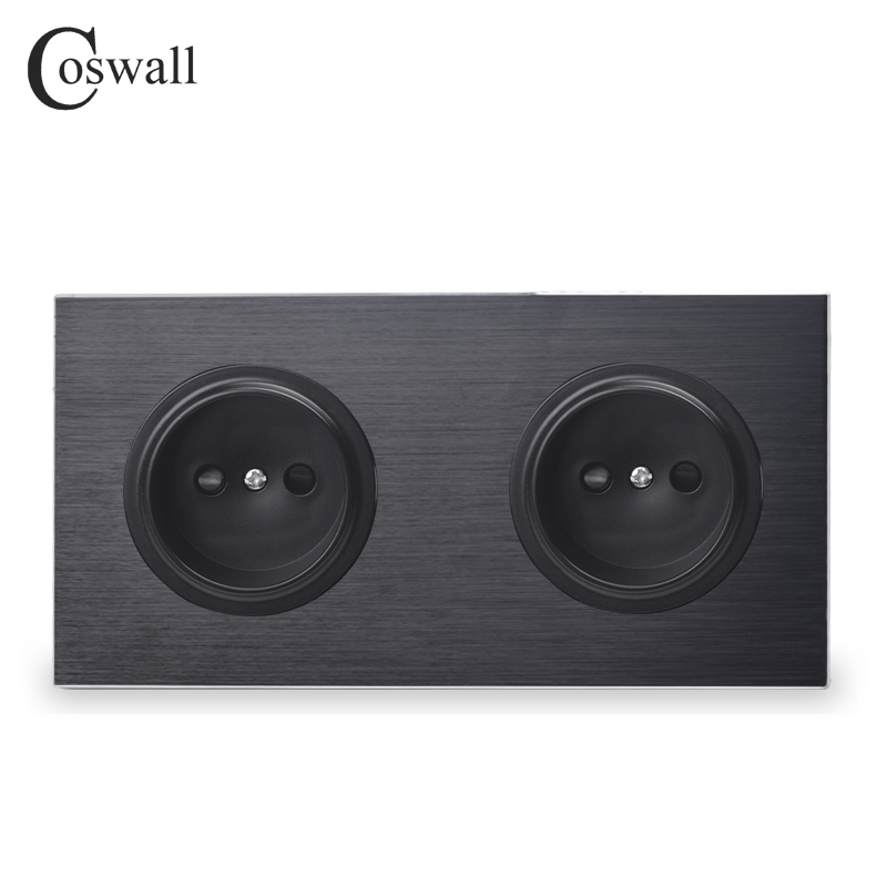 Coswall Black Aluminum Metal Panel 16A Universal EU Standard Wall Power Socket Dual Outlet With Child Protective Lock R12 Series