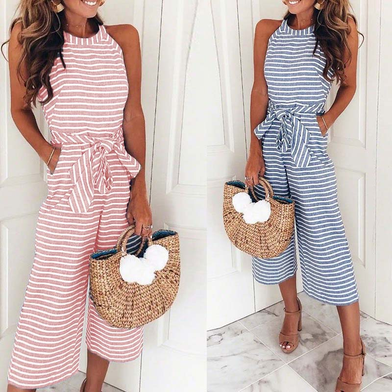 Hot Women   Jumpsuits   Striped O-neck Sleeveless Waist Belted Wide Leg Loose   Jumpsuit   CGU 88
