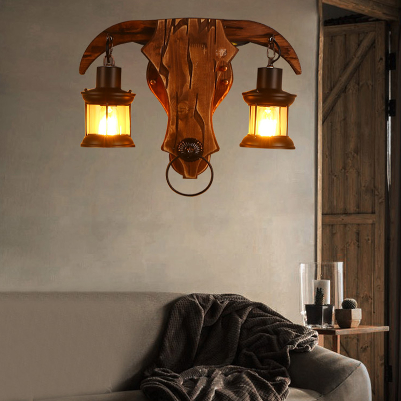 BOCHSBC abat jour en verre lampes murales en bois pour salon café Bar rétro nostalgie idusterie applique personnalité luminaires - 3
