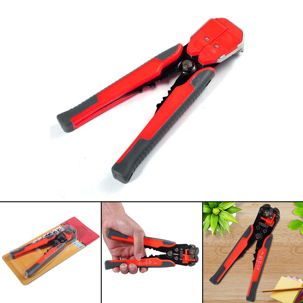 Red Cable Wire Stripper Cutter Crimper Automatic Multifunctional Crimping Stripping Plier Tools Electric mini small ferrules tool crimper plier for crimping cable end sleeves from 0 25 2 5mm2