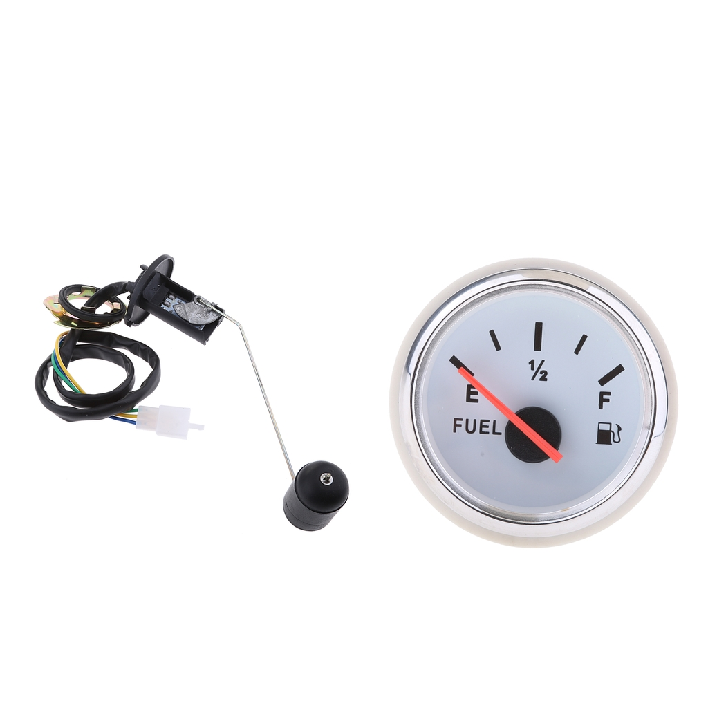 Universal 2 Inch 12V Boat Car Auto Fuel Level Gauge Meter E-1/2-F Pointer + Fuel Sensor