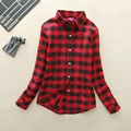 New Arrival Spring Autumn Red Women Plaid Shirt 2017 Female Casual Cotton Long Sleeve Slim Ladies Outerwear Blouse Tops Clothing