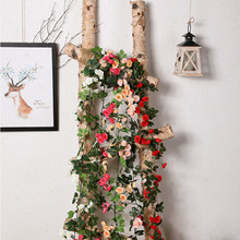 168cm Artificial Hanging Flower 69 Heads Silk Rose Flowers Rattan Vine For Wedding Decor Real Touch String With Leaves H0026(China)