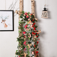 Yumai 170cm Artificial Hanging Flower 69 Heads Silk Rose Flowers Vine For Wedding Decor Real Touch String with Leaves