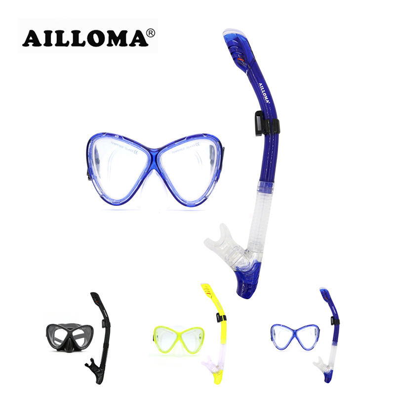 AILLOMA  Scuba Diving Mask Set Silicone Equipment Full Dry Snorkel Swimming Snorkeling Anti-Fog Goggles Dive Eyewear Tube Set