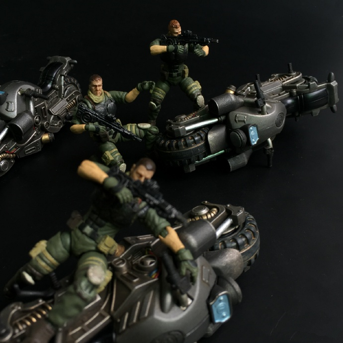 JOY TOY 1:25 motorcycle and soldiers (6pcs/lot ) movable action figures model toys Free shipping SF002G3