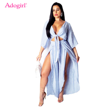 Adogirl Blue Stripe Fashion Casual Two Piece Set Front Tie V Neck 3/4 Sleeve Shirt Crop Top High Slit Wide Leg Pants Outfits random floral print tie front two piece outfits in blue