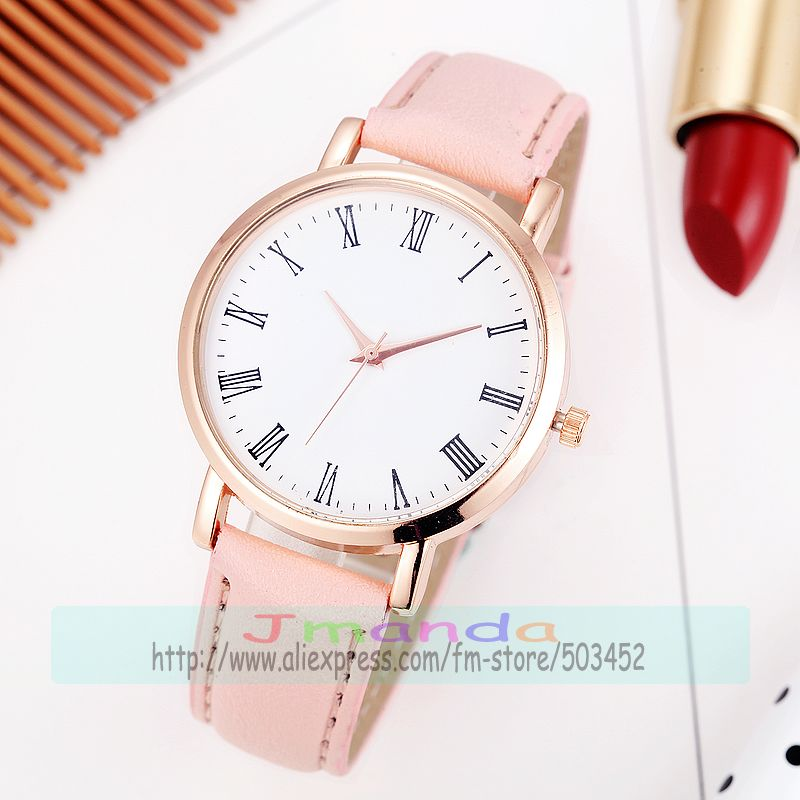 100pcs lot 5610 fashion no logo rose gold case leather watch wrap quartz casual roman number