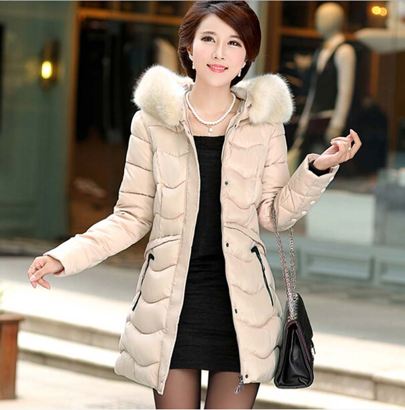 ФОТО 2015 new jacket women long slim 2015 Women thickening cotton-padded jacket mother clothing plus size cotton outerwear BL1229