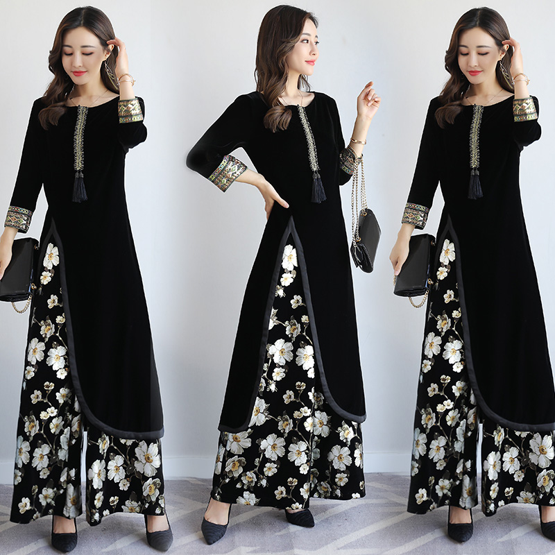Spring autumn india Pakistan Women Clothing New design Europe style Fashion 2 pieces sets vintage pattern elegant ethnic costume