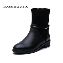 BASSIRIANA 2019 Winter new womens leather shoes to keep warm short paragraph large size Free Shipping