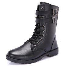 Combat Military Leather Boots Men Army Tactical Shoes Waterproof Mid-calf British Style Martin Motorcycle Boots Black Footwear