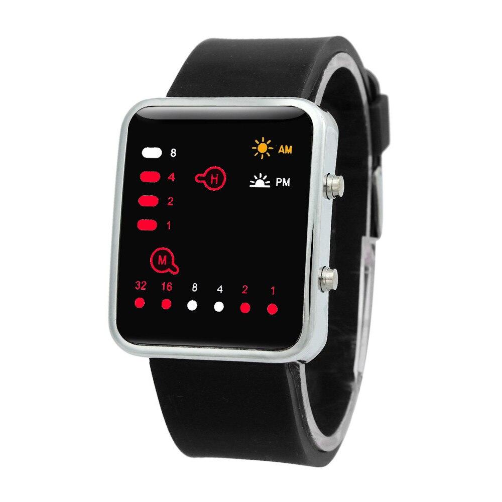 Women Mens 2019 Digital Red LED Sports Watch Binary Wristwatch Silicone Sport Men's Watch Women's Watches Clock Men Ladies Watch