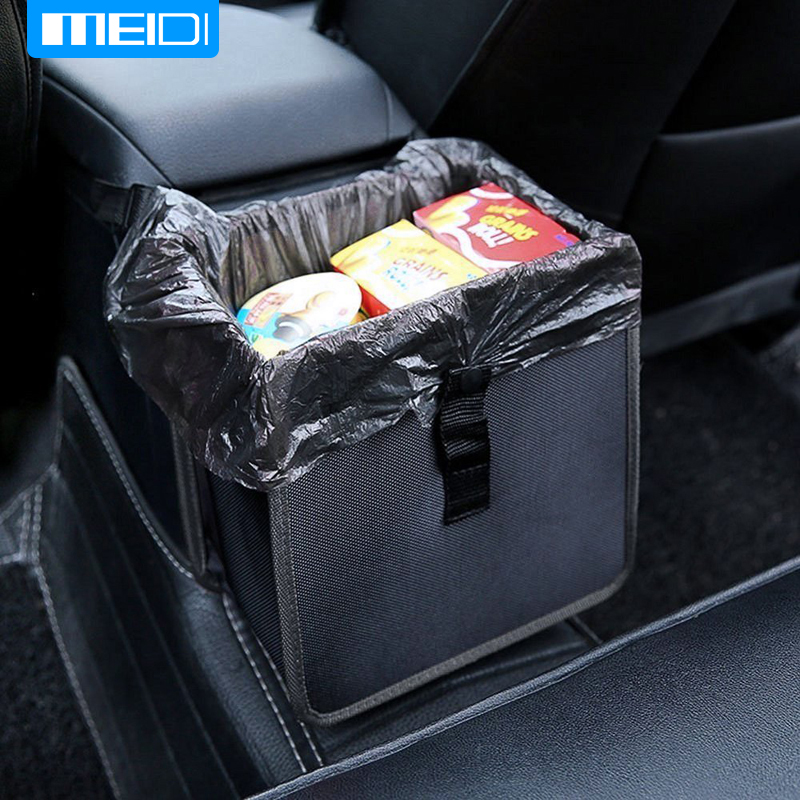 MEIDI Car Trash Bin Comfortable Car Garbage Can Portable Drive Bin Premium Hanging Wastebasket Seat  Waterproof Litter Garbage