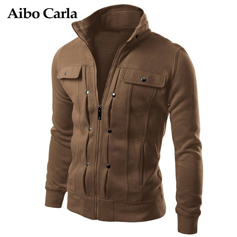 Mens Spring font b Jackets b font Basic Coats Solid Color Male Casual Stand Collar bomber