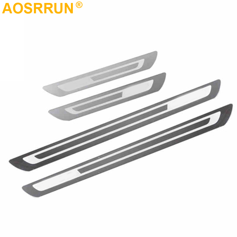 AOSRRUN Stainless Steel Door Sill Scuff Plate Stickers Car Accessories For Volkswagen VW Golf 6 MK6 2009-2013 Car-styling