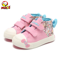 Canvas Children Sneakers 2016 Bowknot Girls Princess Shoes Denim Kids Sneakers Floral Flat Boots For Girls