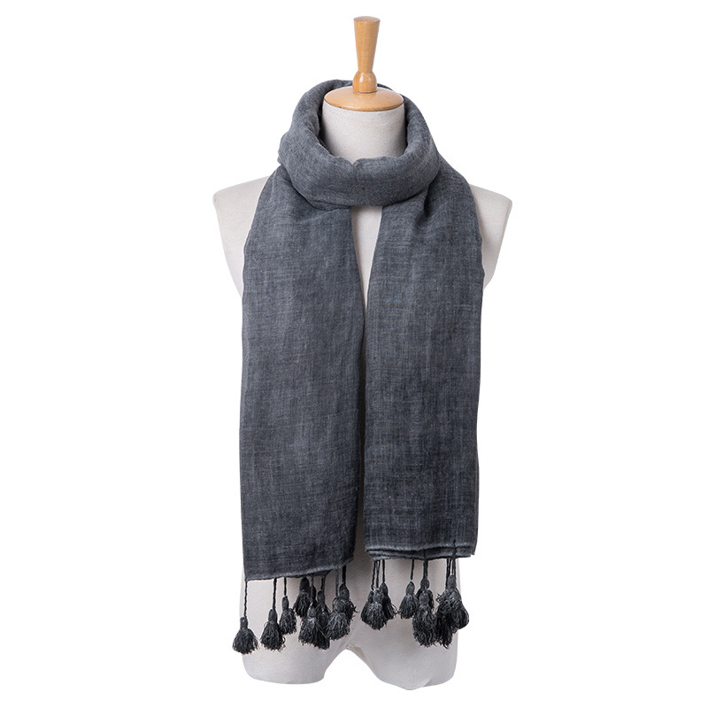 New cotton linen scarf elegant lady air conditioning summer long shawl scarf large sunscreen gauze dirty process three colors