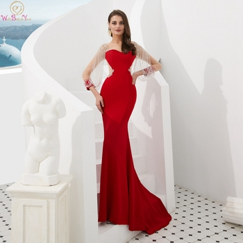 цена на 2020 Red Evening Dresses Illusion Scoop Neck Floor Length Long Formal Party Gowns Three Quarter Sleeves Luxurious Beading Dress
