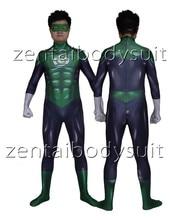 3D Print Cosplay Moive Green Lantern Superhero Spandex Lycra Zentai Bodysuit Halloween Party suit free delivery