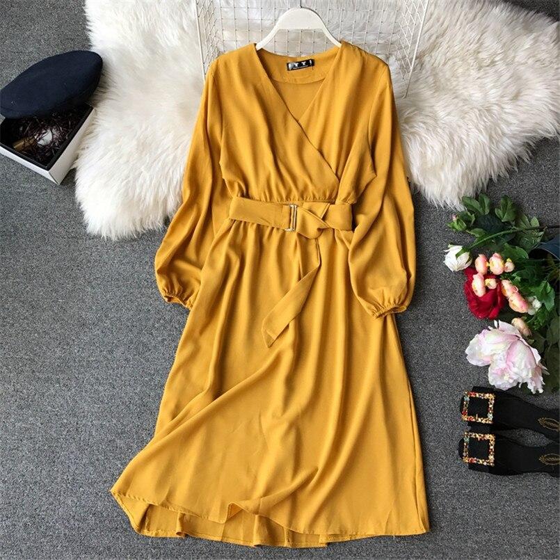 Fashion 2019 V Neck Spring Autumn Bandage Midi Long Dress Party Vestidos Women Casual Elegant Evening Tie Vestido de festa 2