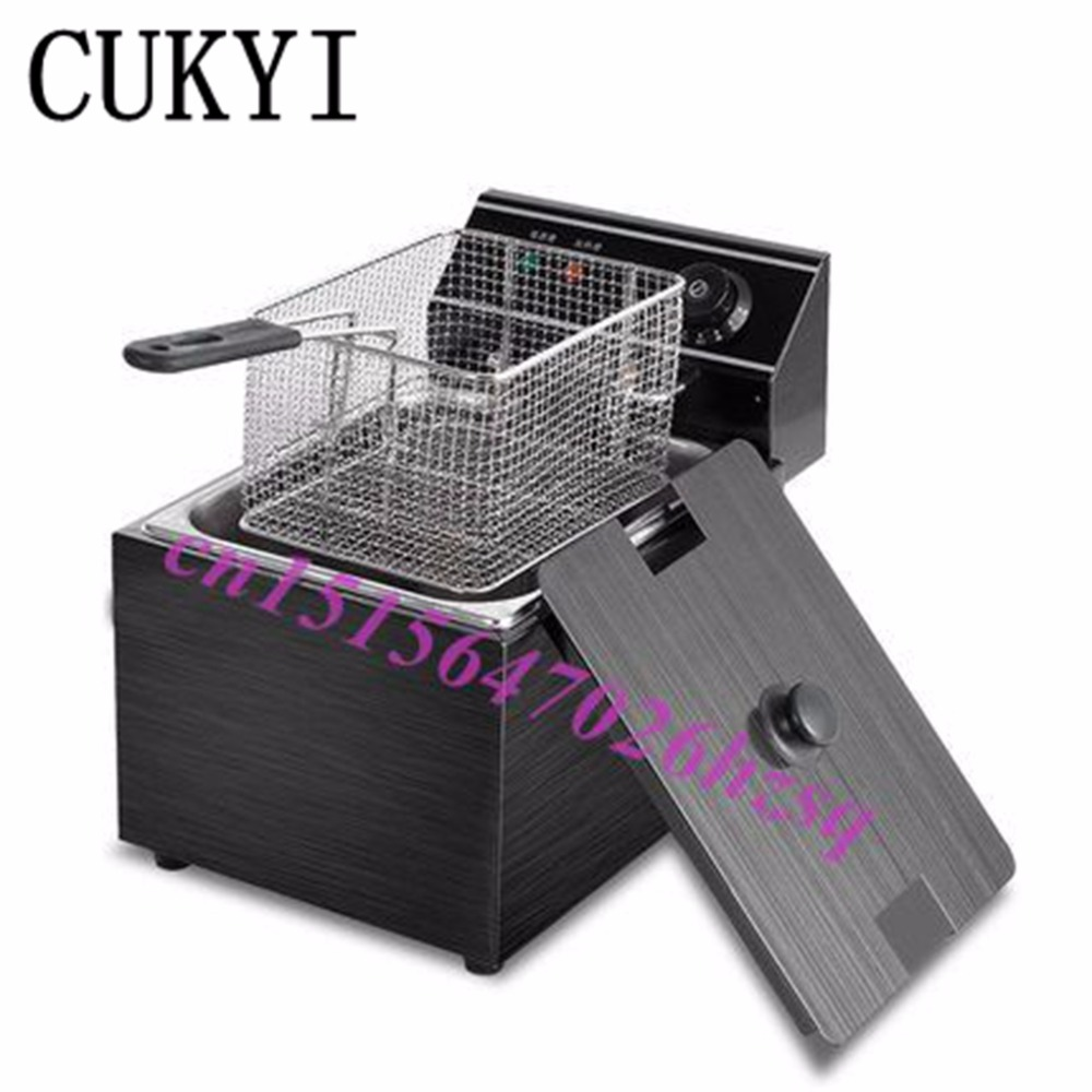 CUKYI 8L Electric deep fryer Multifunctional Commercial Grill Frying pan French fries machine Potato chip/chicken fryer konka microcomputer intelligent control air fryer 2 5l smokeless electric air fryer french fries machine non stick fryer 220v eu