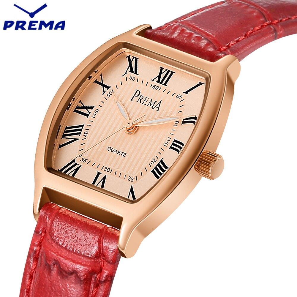 2017 PREMA New Brand Fashion Women Watch Quartz Watch Dress Ladies Casual Gold Case Sports Wristwatch