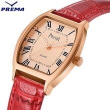 2017 PREMA Moda de Nueva Marca Mujeres Reloj de Cuarzo Reloj de Vestir Casual de Las Señoras de Oro Caso Reloj de Pulsera Deportivo de Cuero Rojo de la correa Luminosa