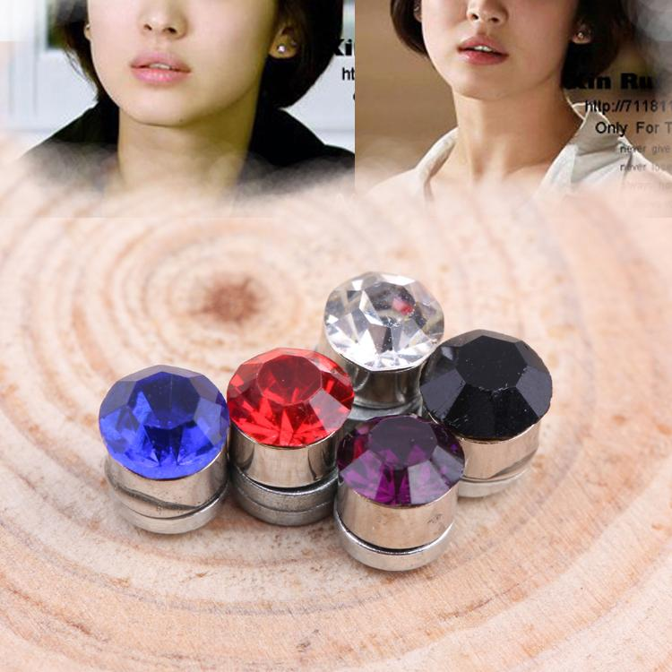 Newly Fashion Multi-colored Non-piercing Ear Clip Magnetic Magnet Unisex Ear Studs Charming Jewelery EAR-0267