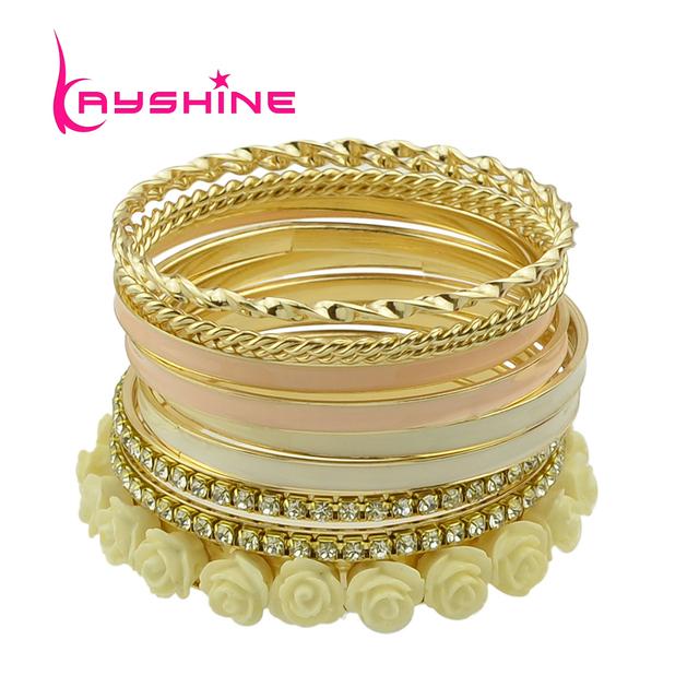 Kayshine 11pcs /set Bracelets & Bangles Sets for Women  Top Selling Multilayer Rhinestone and Enamel Resin Flower Bracelets