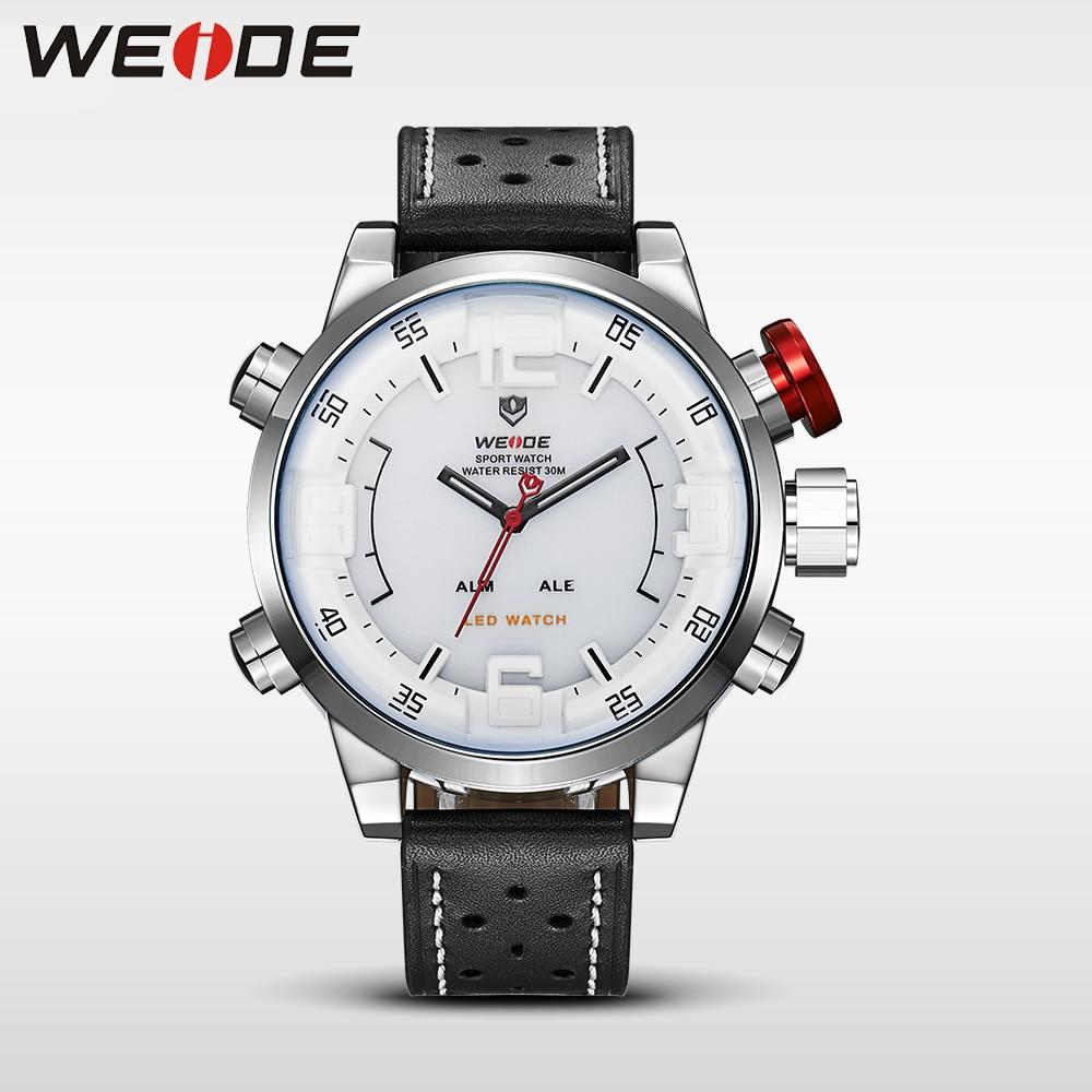 WEIDE men watches 2017 luxury brand Famous Brand Sport Watch Men Digital Quartz Alarm Dual Time Leather Strap Relogio Masculino in Quartz Watches from Watches