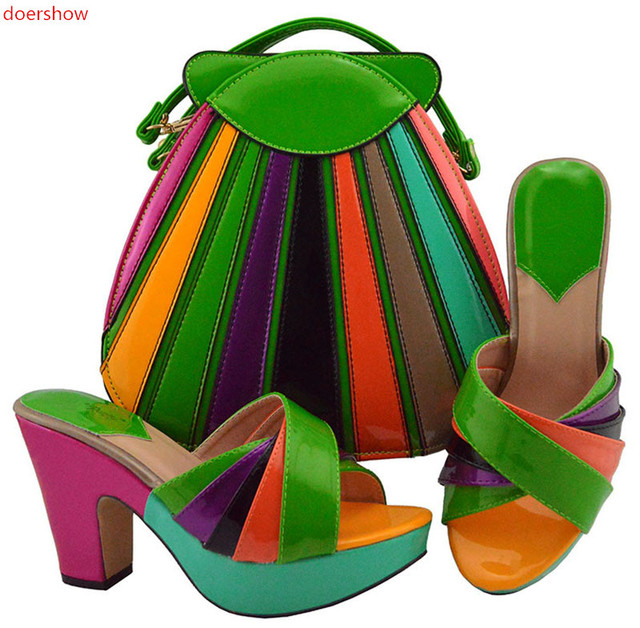 c423269416bb33 doershow 2018 lime green New coming African sandals Italian shoes and bags  to match shoes with bag set SIZE38-42 HUU1-25